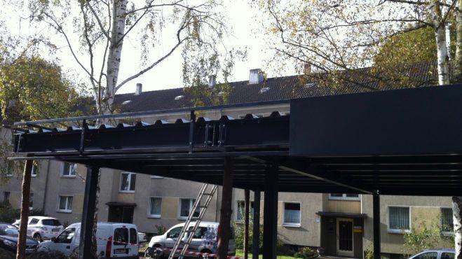 Carport Dachkonstruktion Attika auf Unterkonstruktion montiert