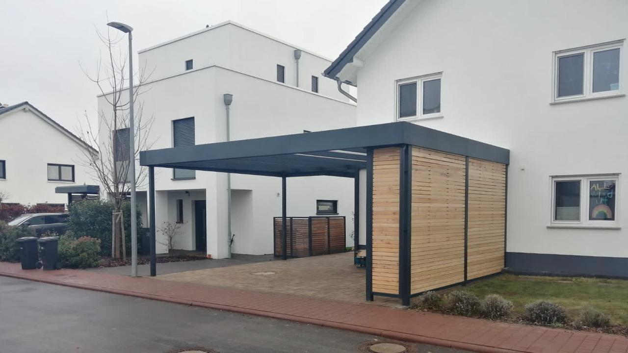 Carport mit Eingangsüberdachung - Carportmaster Projekt 20-P-2877 - 55294 Bodenheim - Carportbild 01