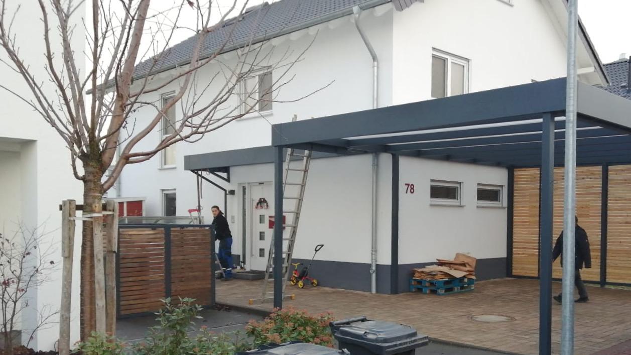 Carport mit Eingangsüberdachung - Carportmaster Projekt 20-P-2877 - 55294 Bodenheim - Carportbild 02