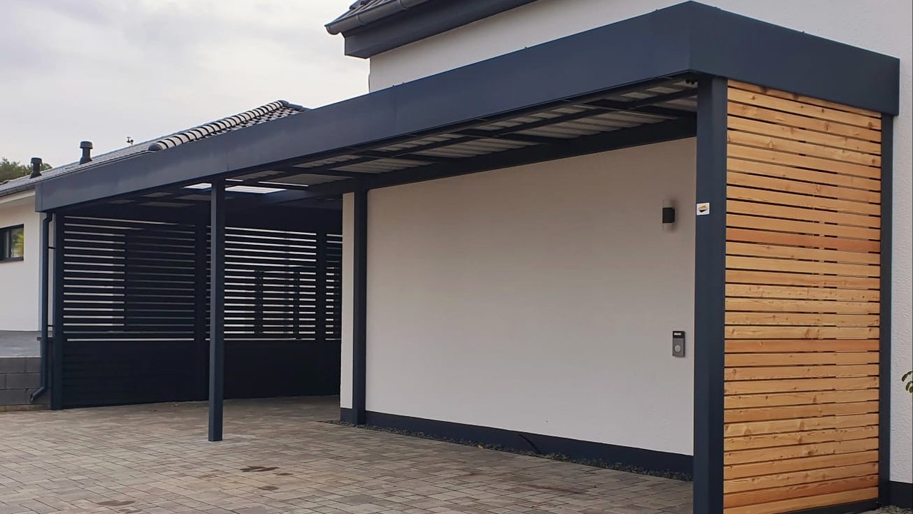 Carport mit Eingangsüberdachung - Carportmaster Projekt 20-C-2063 - 54313 Zemmer-Rodt - Carportbild 03