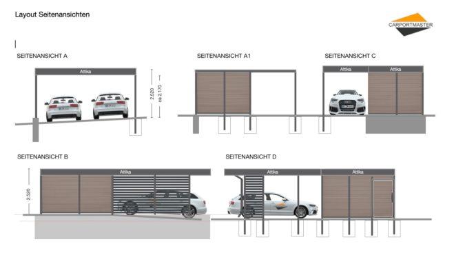 Carportmaster Carportplanung Layout Seitenansichten