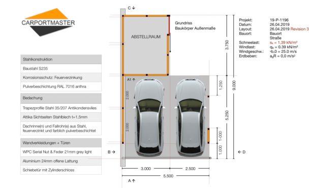Carportmaster's Servicepaket Layout für die Planung des Projekts