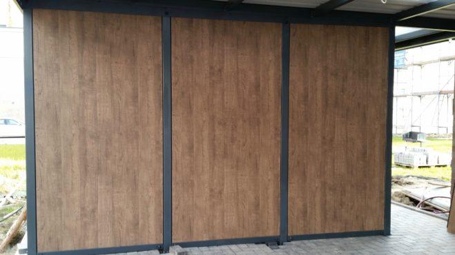 Doppelcarport mit Schuppen - Carportmaster Projekt 16-P-1092 - 44309 Dortmund - Carportbild 02 TRESPA® METEON® - architektonische Platten Wood Decors