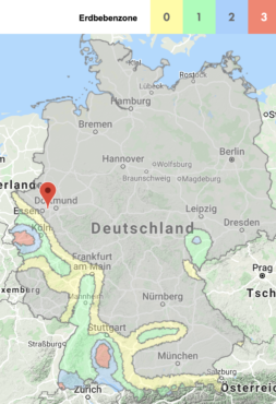 Erdbebenzonen 0-3 für Deutschland