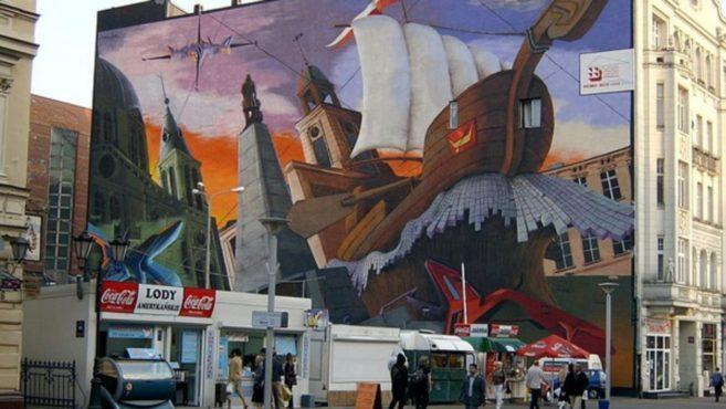 Stahlcarports aus Polen - Lodz Innenstadt Wandmalerei