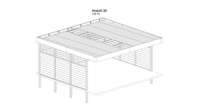 Service CAD - Carport Ansicht A 3D - Inklusive Dachdeckung und Wandverkleidungen