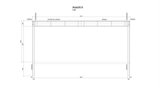 Carport mit Dachdeckung und Wandverkleidungen und in einer zweiten Version die reine Konstruktion.