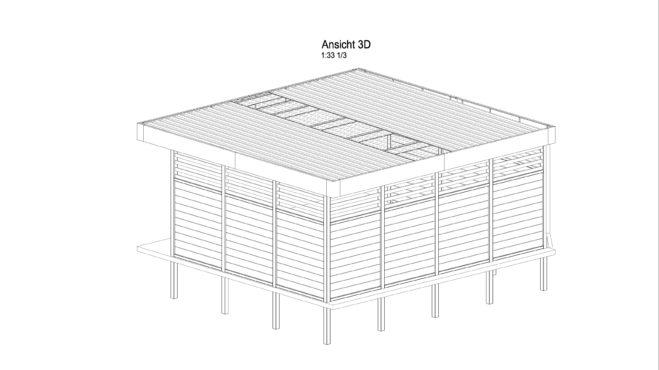Service CAD - Carport Ansicht C 3D - Inklusive Dachdeckung und Wandverkleidungen