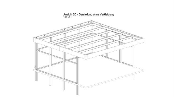 In gleicher Darstellungsart wird auch die Rückseite des Carports, Ansicht C dargestellt.