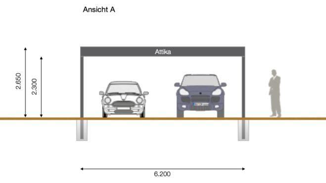 Service CAD - Carport-Layout Ansicht A