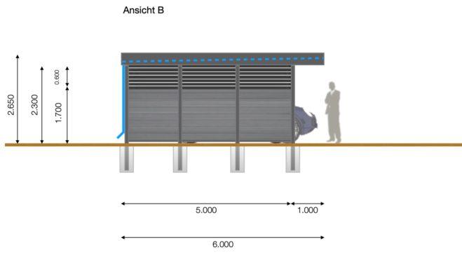 Service CAD - Carport Layout Ansicht B
