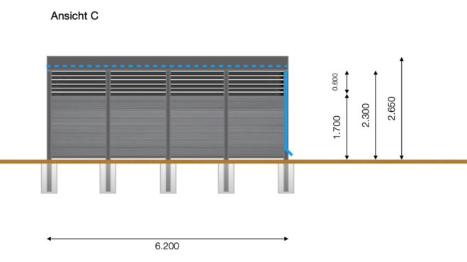 Service CAD - Carport Layout Ansicht C
