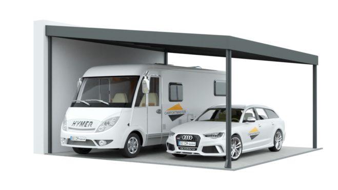 Doppelcarport mit Pultdach für Wohnmobile