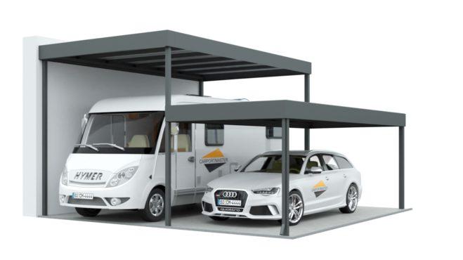 Doppelcarport für Wohnmobil und PKW mit versetzten Ebenen